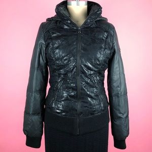 GUESS Black Puffer Hooded Jacket